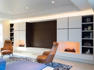 オーク突板/ウレタン塗装 電気式暖炉
