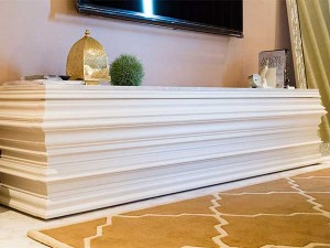 特注デザイン:白塗装、天板 大理石